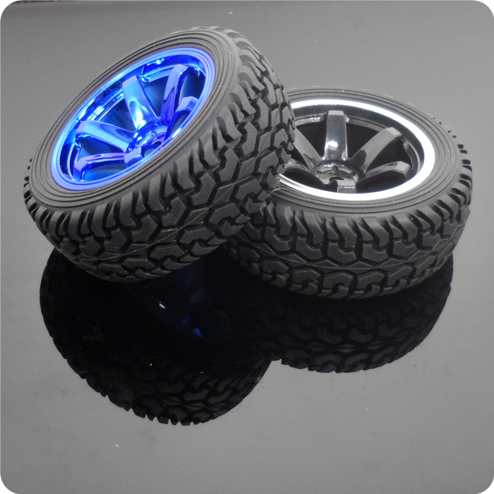 2 PCS 75mm Rubber Tyre / Wheel Tires for 1:10 RC Rock Crawler Model Car with Brass Coupling smart car model wearable rubber wheel