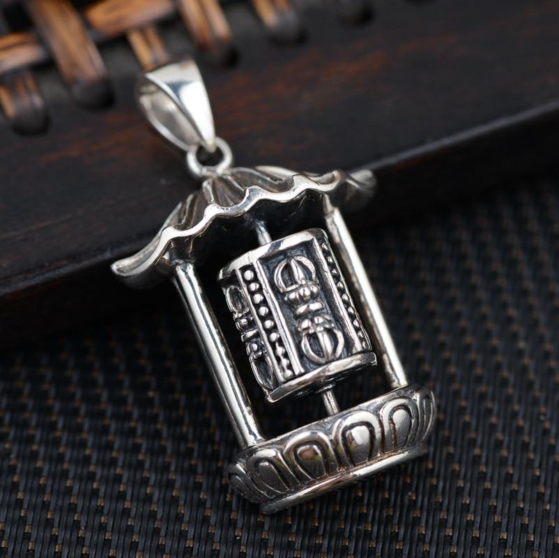 S925 sterling silver jewelry Buddhist Prayer Silver Antique Style Jin Gangchu talisman necklace wholesale
