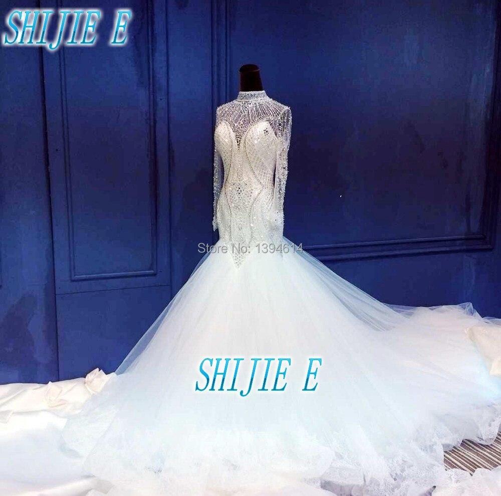 Mermaid Wedding Dress Long Sleeve 2016 Real Sle Crystal Diamond Luxuriant Silk Extended The Train Tail: Silk Mermaid Wedding Dress Sleeves At Reisefeber.org