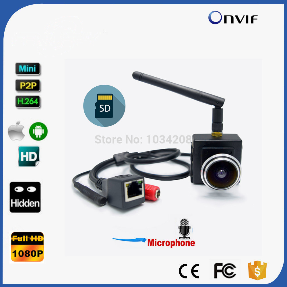 1080P Audio Wireless Webcam 1.78mm Fisheye Lens Mini IP Camera Network IP Wifi Camera Wi-Fi CAMHI With Microphone& SD Card Slot