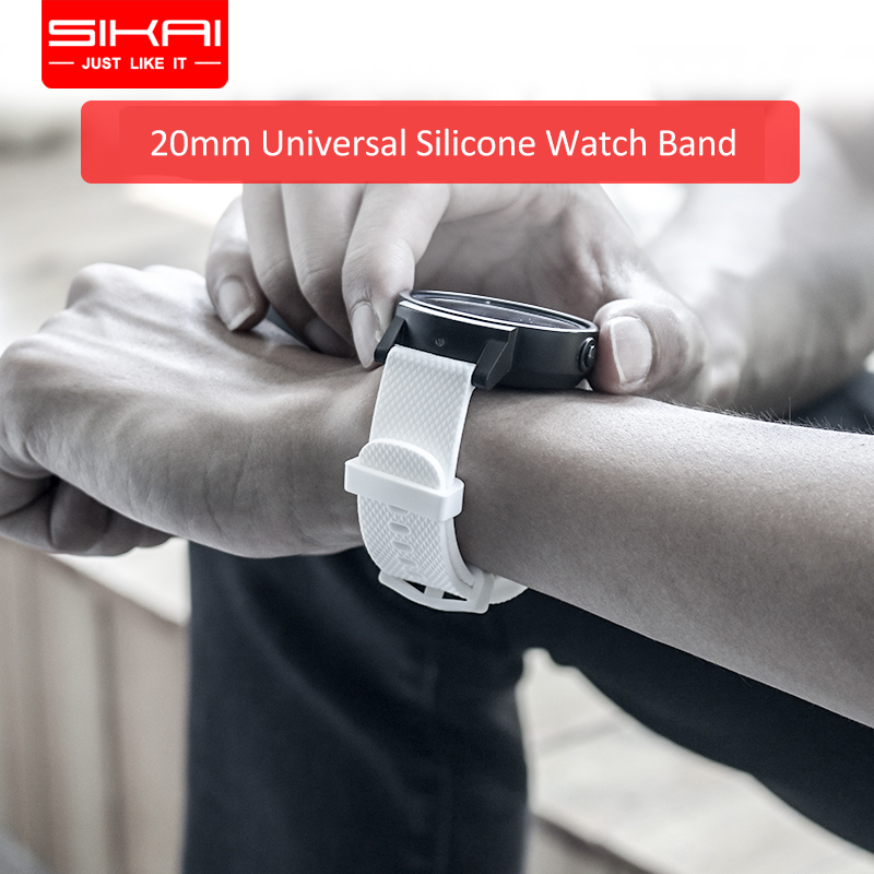SIKAI 20mm Universal Silicone Watch Strap For Huami Amazfit Bip Watch Band For Ticwatch E Replace Strap For Huawei Watch 2 BandSIKAI 20mm Universal Silicone Watch Strap For Huami Amazfit Bip Watch Band For Ticwatch E Replace Strap For Huawei Watch 2 Band