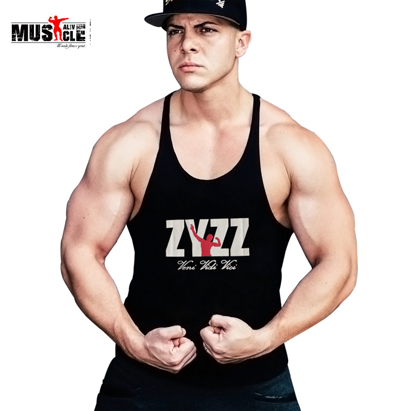 Fitness Men Bodybuilding   Tank     Top   Man Workout For Male Casual Cotton Sleeveless Sportswear Stringers ZYZZ Singlets Fitness Wear