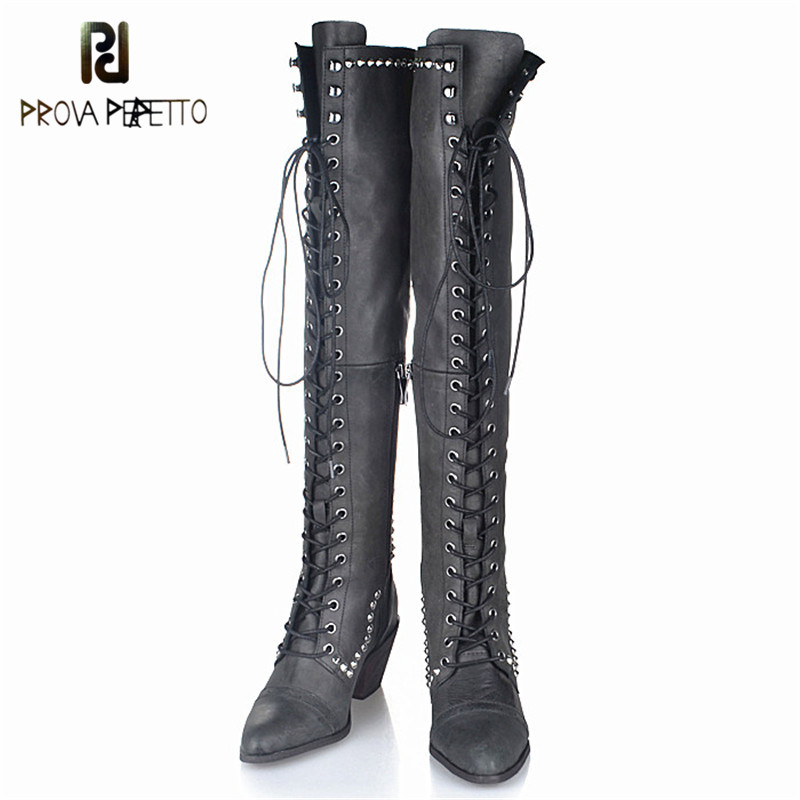 Prova Perfetto Original Brand Top Quality Cow Suede Leather Over-the-knee Boots Do the Old Retro Pointed-toe Lace-up Long BootsProva Perfetto Original Brand Top Quality Cow Suede Leather Over-the-knee Boots Do the Old Retro Pointed-toe Lace-up Long Boots