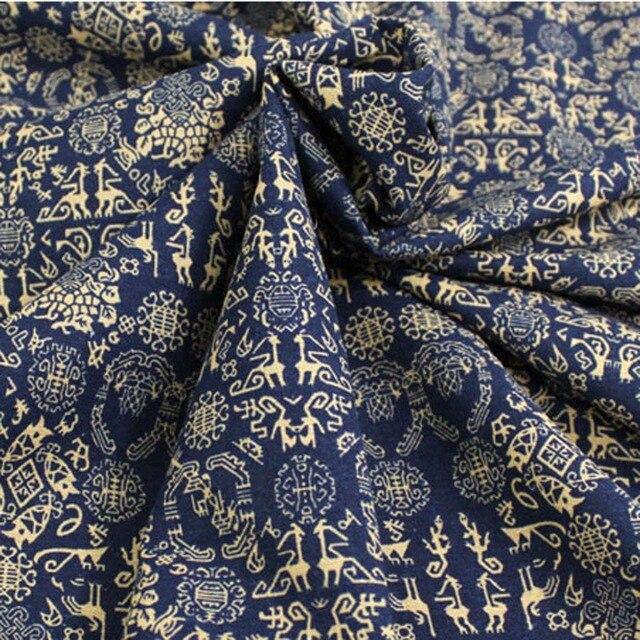 dd763d05807 Coton lin ethnique style exotique bleu foncé petites peintures murales tissus  imprimés pour bricolage vêtements