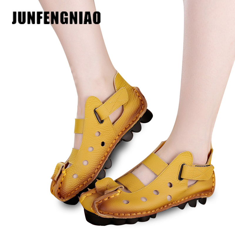 2017 handmade leather low with hollow out sandals shoes leather wedges soft bottom leisure shoes in the summer of mother ag46 2017 Summer New Soft Bottom Flat Leather Shoes Personality Casual Women Sandals Tunnel Vintage Handmade Sandals Spring CX-899
