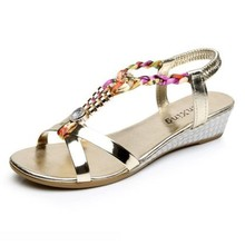 Women Sandals Summer Rhinestone Women Flat Sandals for Women Bling Wedges Shoes Fashion Casual Sandals Comfortable Beach Shoes