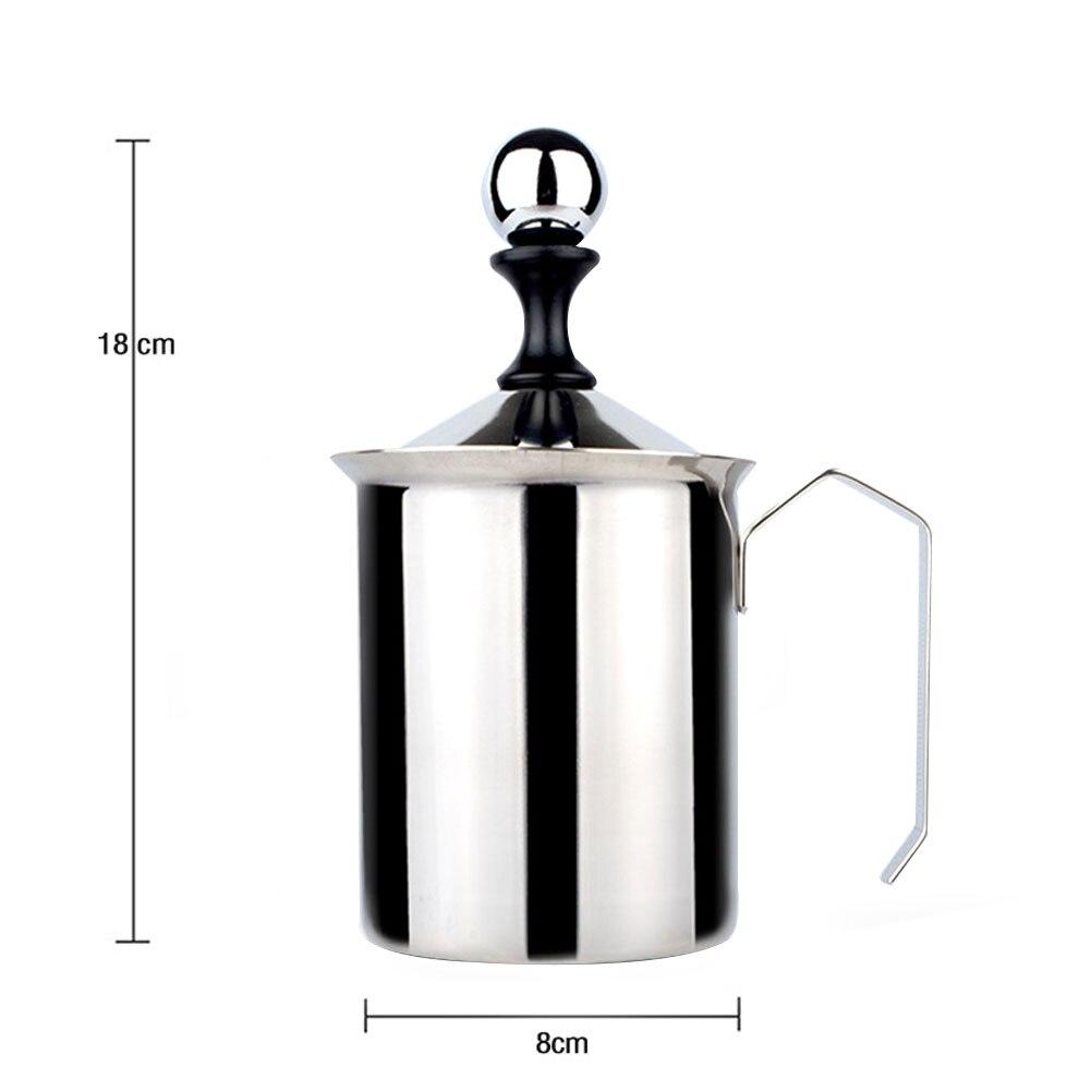 500ml Manual Double Mesh Head Latte Milk Foam Maker Coffee Cream Whisking Milk Frother in Milk Jugs from Home Garden