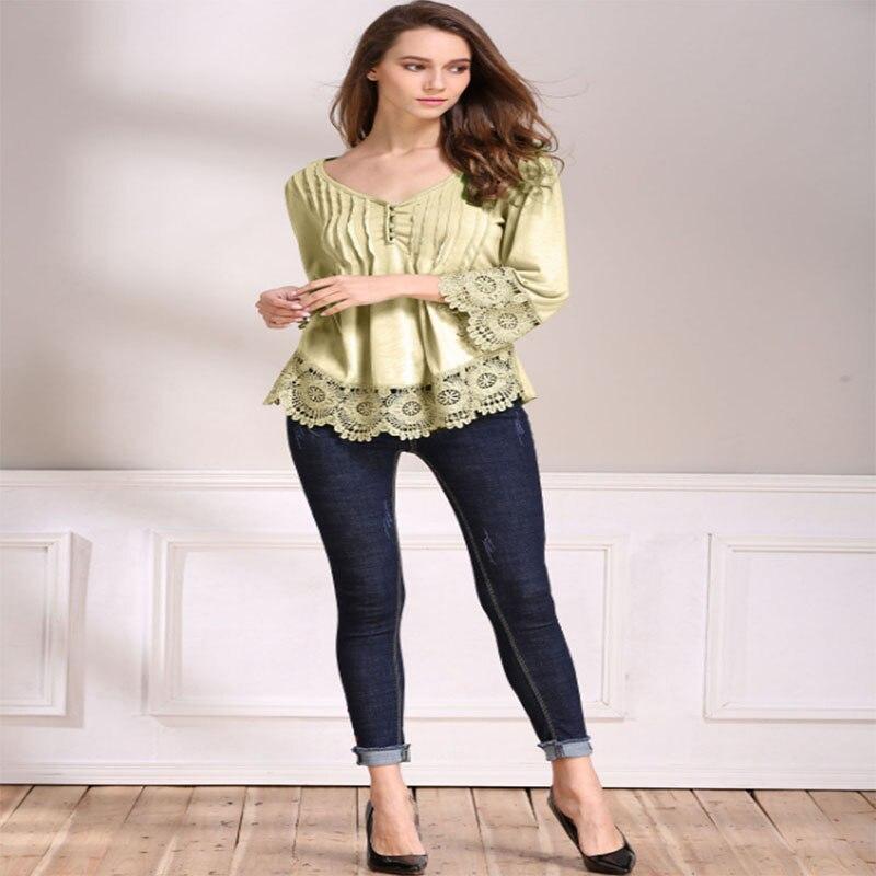 Ladies lace stitching cotton fashion casual jacket wild Slim Sleeve T-shirt free shipping