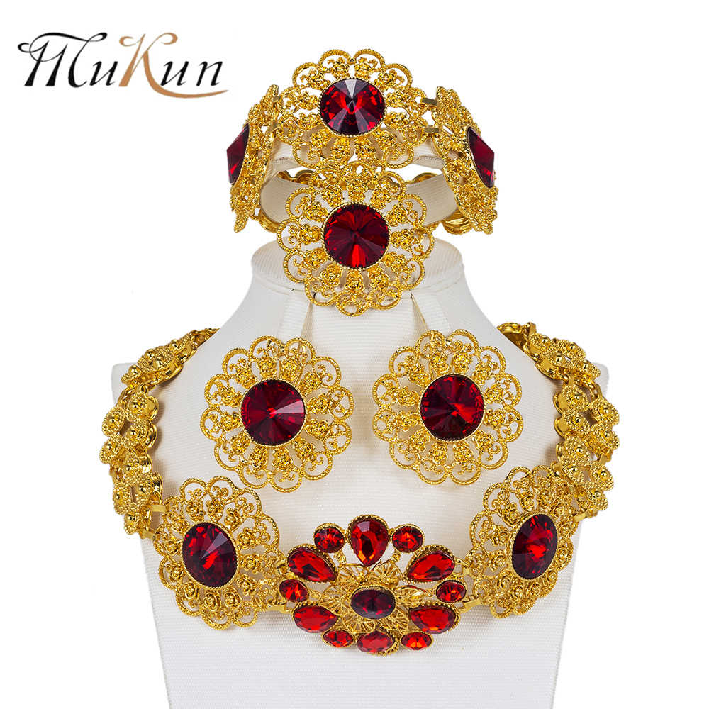 MUKUN Bridal Jewelry Sets Nigeria big Necklace Earrings sets Luxury Dubai Gold Color jewelry sets women Ethiopia Wedding Design