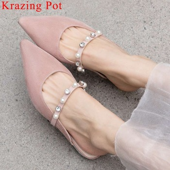 Krazing Pot simple plus size classic square toe pearls crystals decoration slip on mules elegant pretty girls party sandals L12