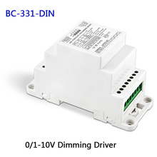 New BC-331-DIN DIN Rail 0-10V 1-10V to PWM LED dimming driver,DC12-24V input,18A*1CH output dimmable Led Dimming power driver недорго, оригинальная цена