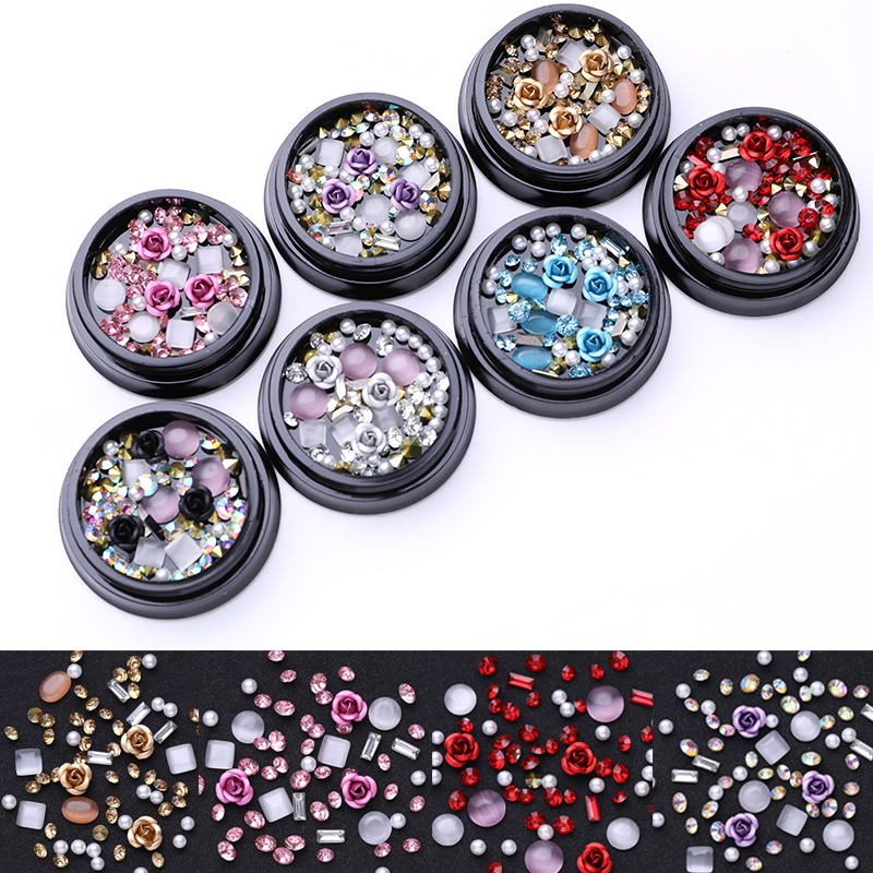 Champagne Clear Gemstone Round Rhinestones Metal Rose Nail Beads Opals Crystal Manicure Pearl Nail Art DIY 3D Decoration pearl