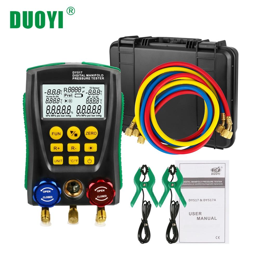 DUOYI DY517A Digital Manifold Refrigerante Frio Médio De Pressão De Vácuo De Refrigeração HVAC Inspeção Tester Temperatura Testo PK