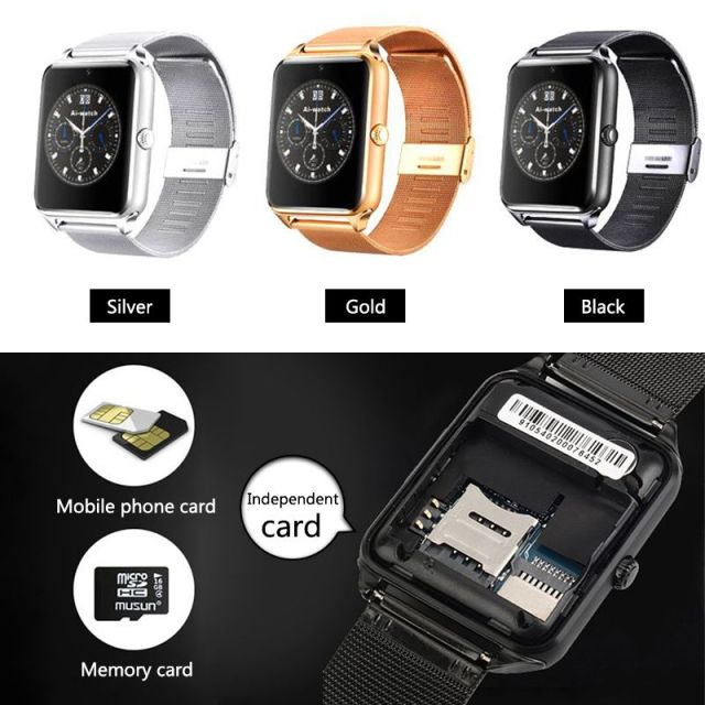 SALFRESA Smart Watch Z60 Men Women Metal Bluetooth Wrist Support SIM/TF Card Fashion business Wristwatch For Apple Android Phone