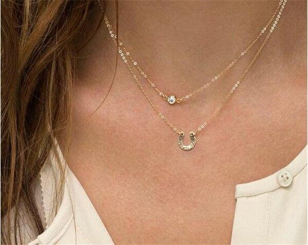 Бесплатная доставка! Оптовая продажа ювелирных изделий Имитация Diomands имитация женщины двойной слой ожерелье популярные ювелирные изделия