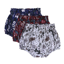 Cotton Linen Bloomers Shorts Baby Boys Girls Floral PP Pants Triangle Kawaii Newborn Trouser Toddler