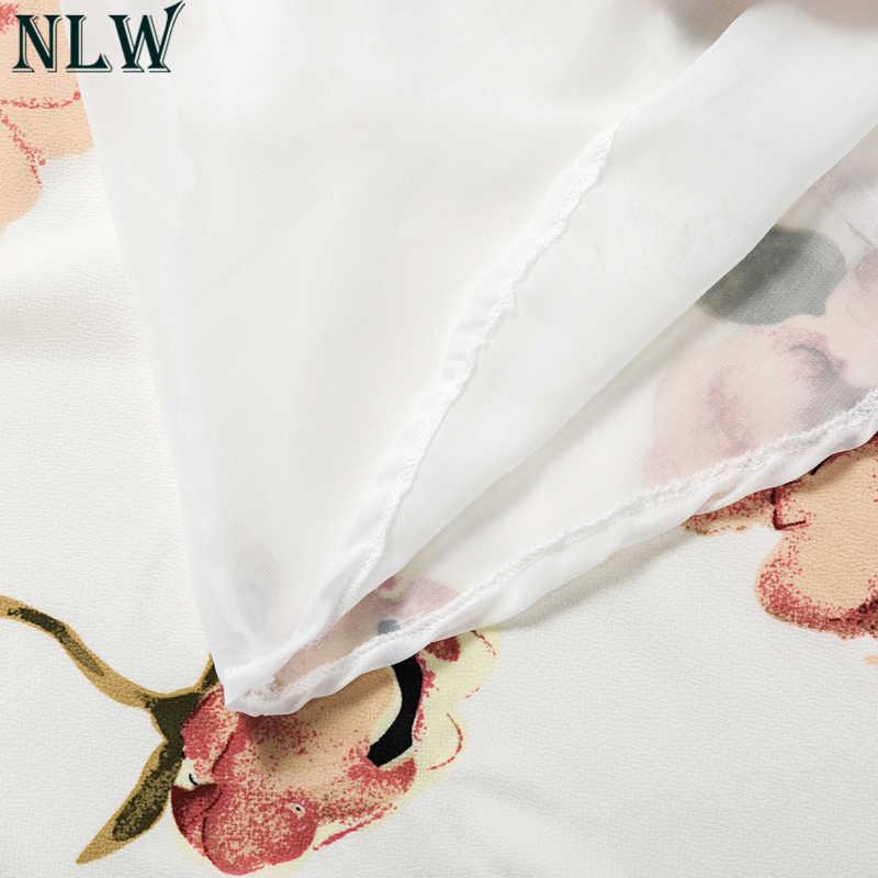 NLWสีขาวสายBohoชุดฤดูร้อนดอกไม้พิมพ์ผิดปกติD Rapedเซ็กซี่ชุด2018ผู้หญิงฤดูใบไม้ผลิเรียงรายบีชปาร์ตี้แต่งงานVestidos