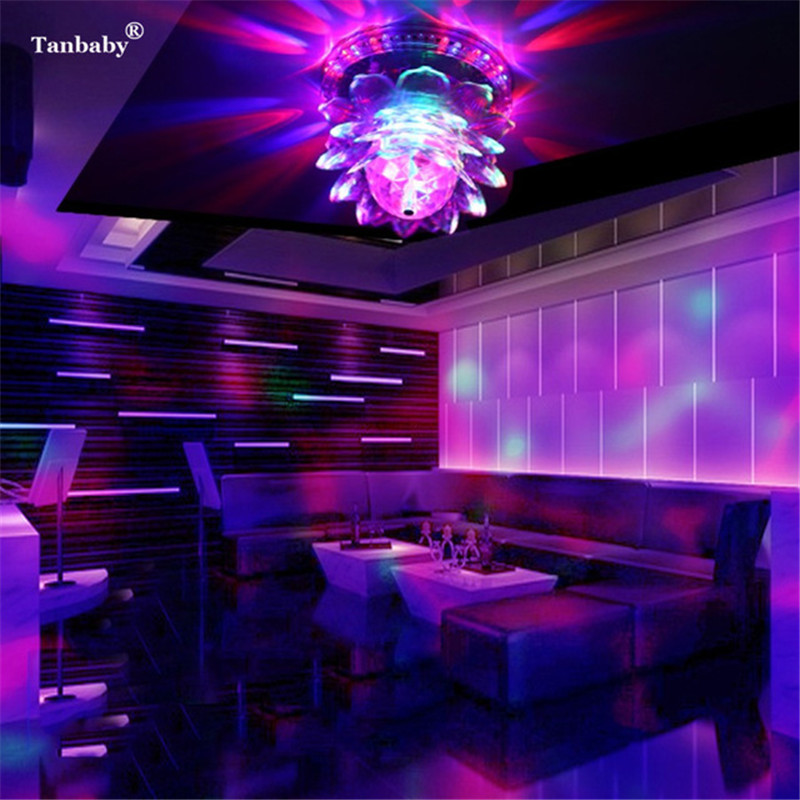 Tanbaby Disco Ball Mini RGB LED Stage Party Light Auto Rotating Crystal Ball Magic Sunflower Stage Effect Lighting Lamp DJ DMX