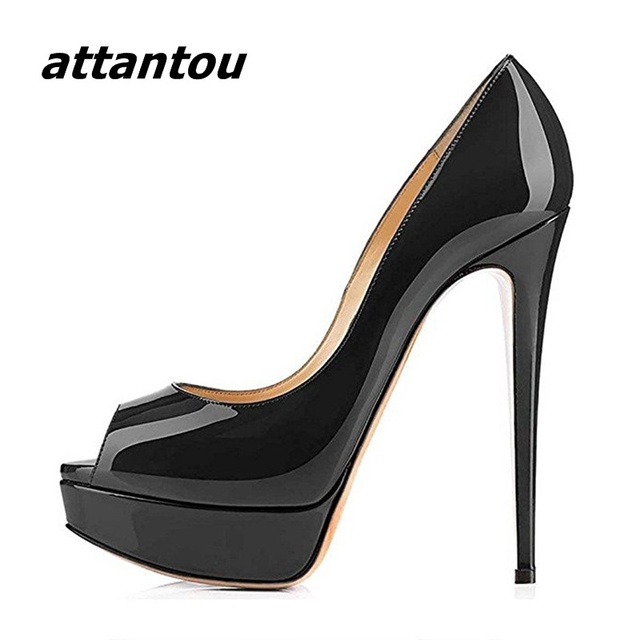 Elegant Women Black Patent Leather Peep Toe High Heels Sexy Slip ...