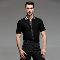 Black Mens Latin Dance Shirts Top Mens Ballroom Dancewear Men's Latin Dance Top Costumes Stage Clothing for Men Ballroom Clothes