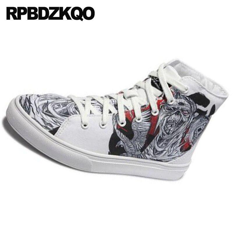 Hommes Marque Sneakers Formateurs Top Toile Imprimé Hip Chaussures Skate Up Piste Respirant Célèbre Peinture Hop Dentelle White Printemps Belle Haute nSwxqnR