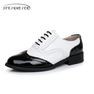 Image 3 - Frauen Wohnungen Oxford Schuhe aus echtem leder vintage flache schuhe runde kappe handgemachte weiß schwarz oxford schuhe für frauen 2020 frühling