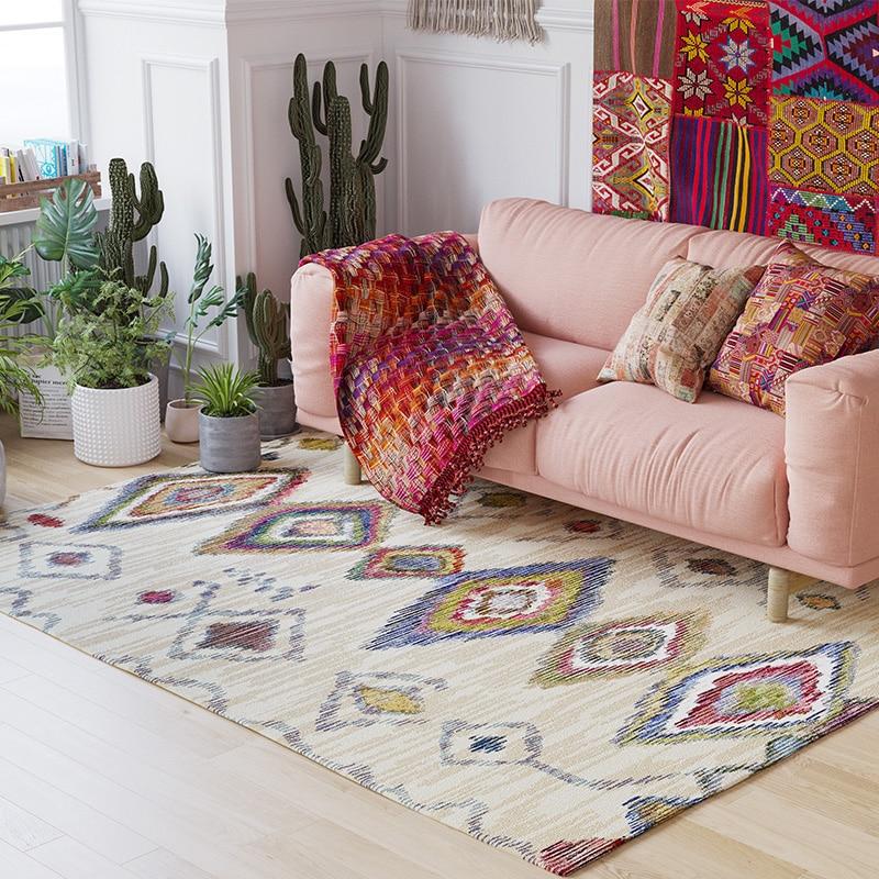 Style marocain fait main tapis géométrique bohême tapis indien plaid moderne noir blanc Kilim design style nordique