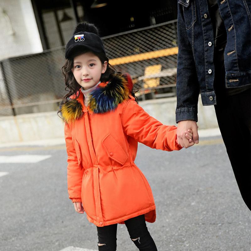 Girl Long Down Puffer Hooded Fur Collar Children Winter Jacket Kids Thick Warm Clothes Teenage Girls Winter Coat Parka Clothing teen girl winter coat parka long down puffer hooded fur collar children winter jacket kids thick clothes for 6 8 10 12 14 years