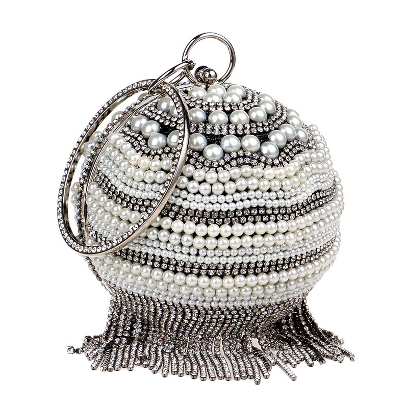 Luxurious Handmade Tassel Rhinestones Evening Bags Diamonds Metal Crystal Fashion Round Chain Handbags Beaded Wedding Purse pu women messenger chain shoulder handbags beaded handmade style metal diamonds evening bags leather fashion purse bags