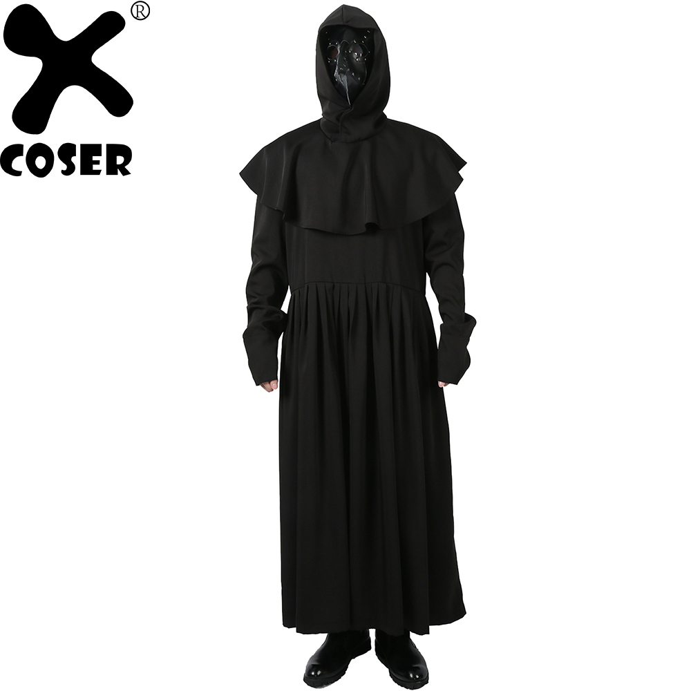 XCOSER Plague Doctor Cosplay Costume Black Polyester Priest Robe with Belt Collar Masque ...