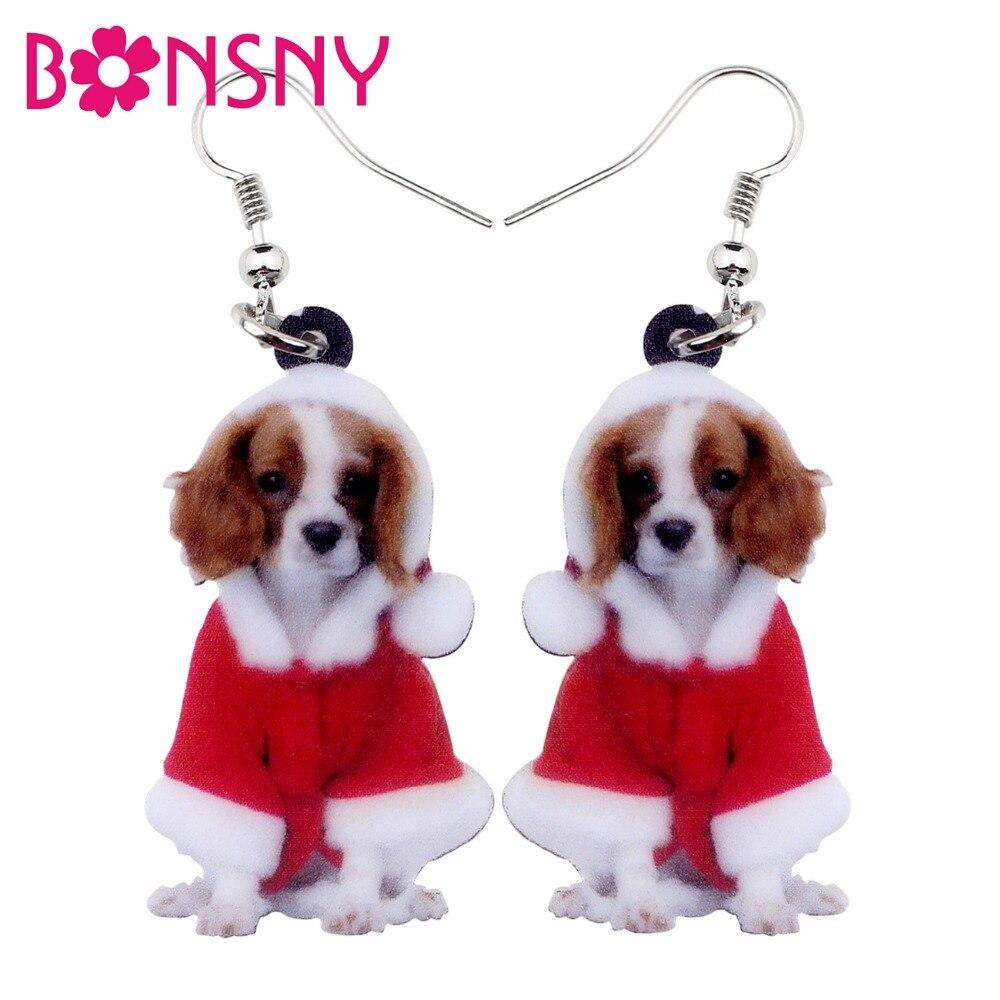 Bonsny Acrylic Cute Christmas Cavalier King Charles Spaniel Dog Earrings Big Long Dangle Drop Women Girl Ladies Fashion Jewelry
