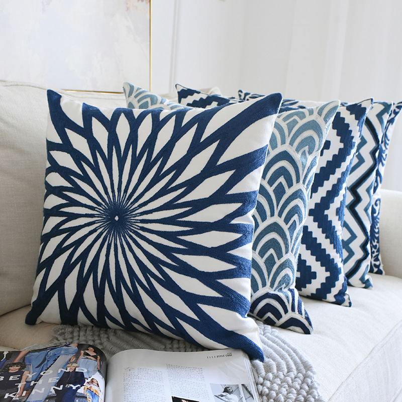 Nordic Home Decor Embroidered Cushion Cover Navy Bluewhite