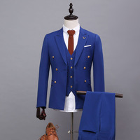 2017 spring summer suit men office dress vestido de festa masculino bomber jacket slim fit men blue suit