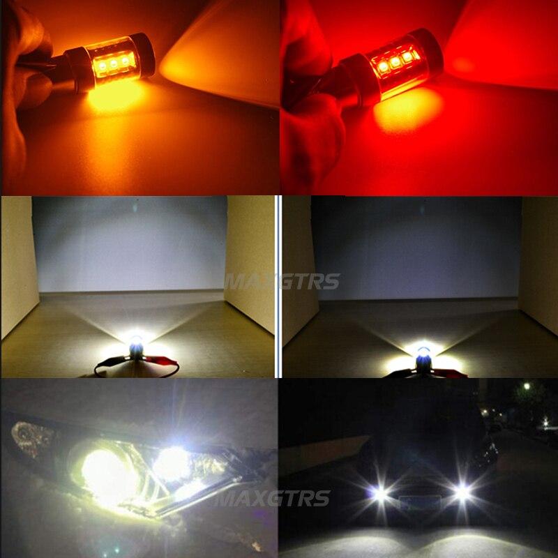 2x High Power S25 1156 BA15S P21W 30W 50W 80W CREE Chip XBD LED Car Reverse Bulbs Backup Reverse Lamp Light White/Red/Yellow