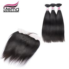 Free Shipping Stema Hair Unprocessed Peruvian Virgin Hair Straight 3PCS Hair Weft With 1pc Lace Frontal Closure 7A grade