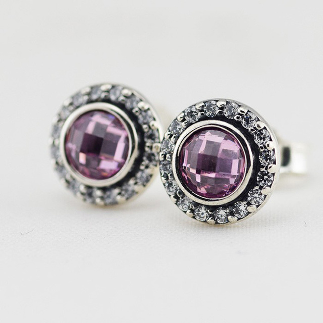 Authentic 925 Sterling-Silver-Jewelry Stud Earring Brilliant Pink CZ Earrings For Women Free Shipping
