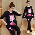 THE Black Maternal  Cotton Sweater Suit Pregnant Breast Feeding Clothes Clothes For Pregnant Women Pajamas   two sets