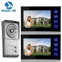 7inch Touch Key Video Intercom Apartment HD Door Phone System 2 Monitor 1 Doorbell IR Camera