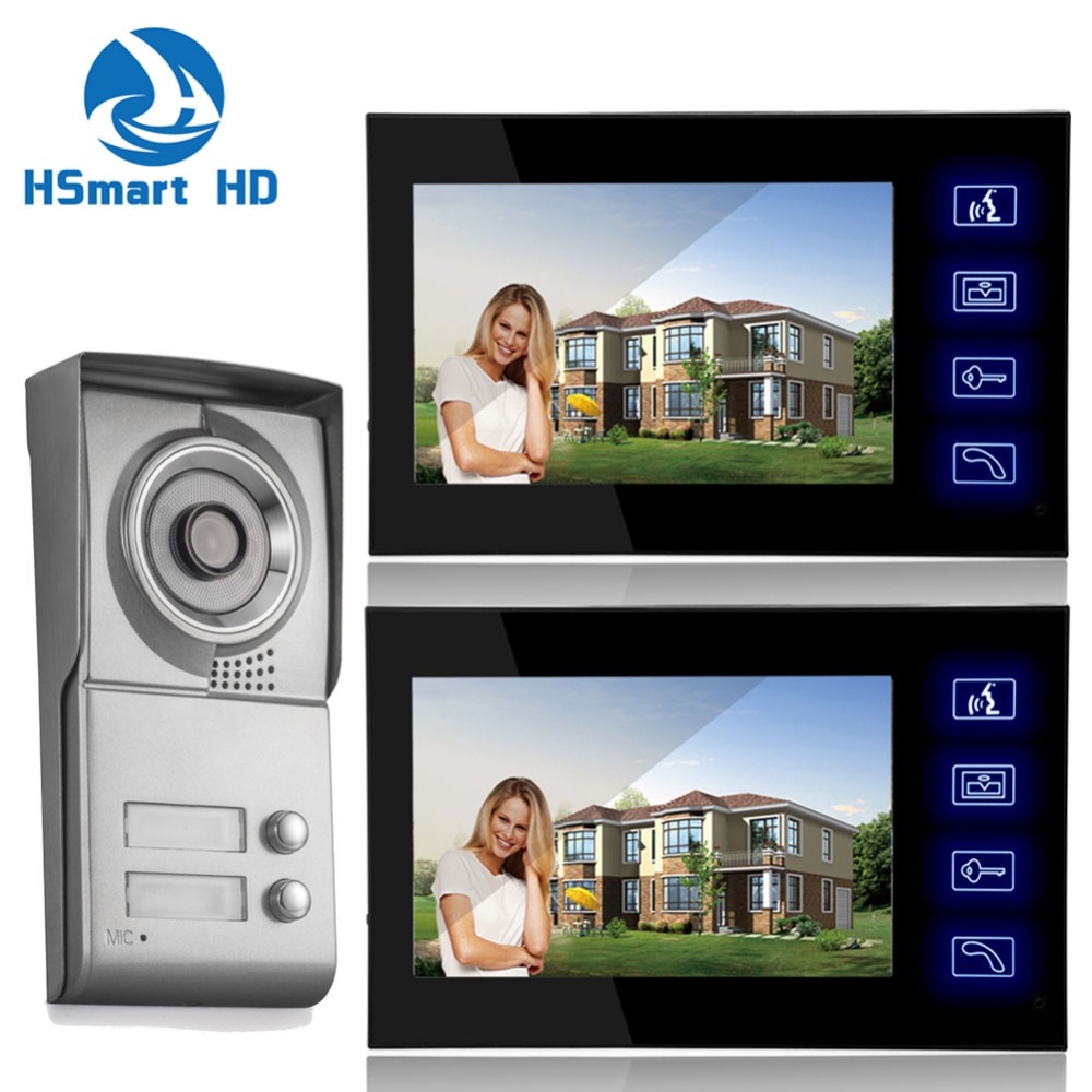 7inch Touch key Video Intercom Apartment HD Door Phone System 2 Monitor 1 Doorbell IR Camera 2 Buttons polaris phd 2077i