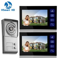 7inch Touch key Video Intercom Apartment HD Door Phone System 2 Monitor 1 Doorbell IR Camera 2 Buttons