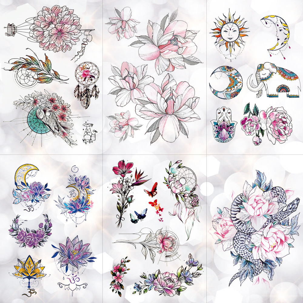Flower Totem Dream Catcher Butterfly Moon Temporary Tattoo Sticker Pendant Doll Watercolor Tattoos Body Art Fake Tatoo