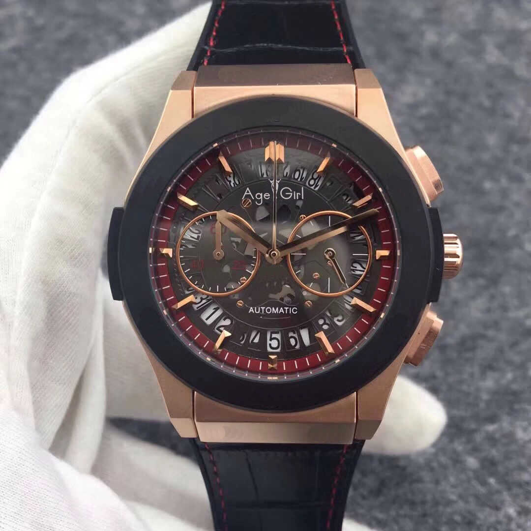 Luxury Brand New Men StopWatch Chronograph Rose Gold Black Bezel Stainless Steel Blue Rubber Red Sport Leather Unico WatchesLuxury Brand New Men StopWatch Chronograph Rose Gold Black Bezel Stainless Steel Blue Rubber Red Sport Leather Unico Watches
