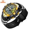 Hoska men sports relógios moda impermeável casual quartz relógio digital & analog militar esportes relógios multifuncionais hd011