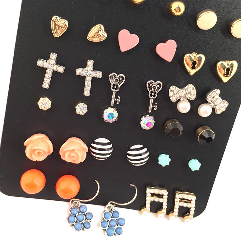 b018c05960fdb3 ... Wholesale 18 Pairs/Pack Mixed Cross Heart Flower Key Stud Earring Sets  Multicolor Geometric Stud ...