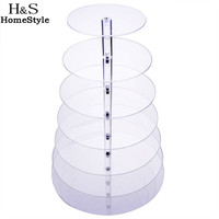 Big Size 7 Tier Crystal Clear Circle Acrylic Round Cupcake Stand For Wedding Party Cake Display