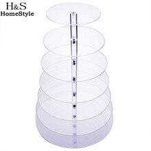 Homdox 7 Tier Küche Kuchen Platte Crystal Clear Kreis Runde Cupcake Platte Stehen für Hochzeit Kuchen Display Dekoration #2010