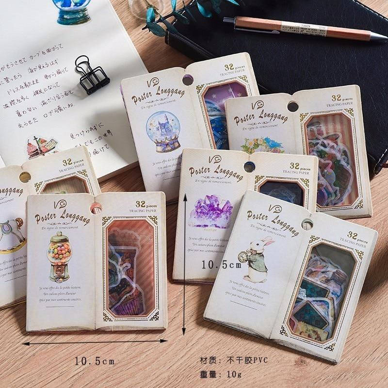 32 PCS/Pack Creative Retro Children Stationery Decorative Diary Label Pack Decorative Scrapbooking PVC DIY Stickers