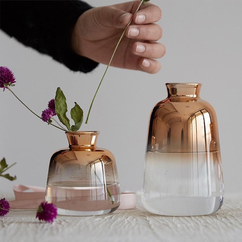 Changing Color Gold Vase Creative Home Decoration Crystal Vase Decor Flower Vases Gifts