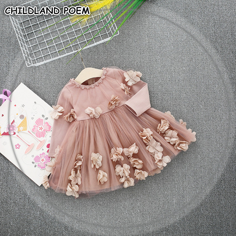 Baby Girls Dress Spring Long Sleeve Baby Dress Flower Floral Princess Baby Girl Clothes Cotton Party Baby 1st Birthday Dress big girls dress spring floral printed girls party princess dress long sleeve kids clothes for girls 6 8 10 12 year girl dress