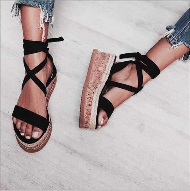 placeholder IMKKG Summer White Wedge Espadrilles Women Sandals Open Toe  Gladiator Sandals Women Casual Lace Up Women cc6c4156b7a7